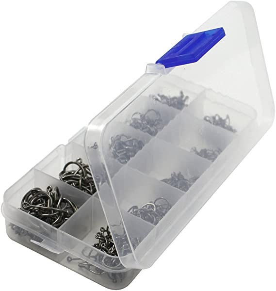 Robell 500 St/ück Angelhaken mit Widerhaken 10Gr/ö/ßen Kohlenstoffstahl Angelhaken Set mit Kunststoff Box Angelzubeh/ör Set