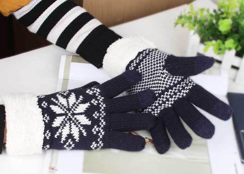 Pantalla táctil Guantes, tukis puertas Mujer térmicamente Guantes de invierno calentador Manoplas Mantener Las Manos calientes Copo de nieve patrón de punto guantes con forro polar negro: Amazon.es: Hogar