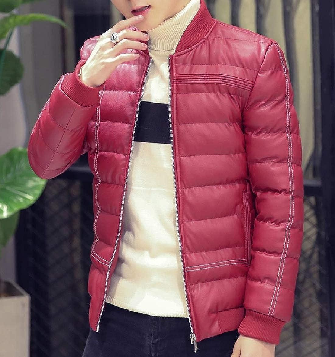 Abetteric Men Thick Fleece Puffer Baseball Parka Coat Basic Style Anorak Jacket