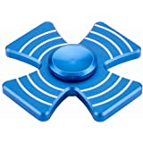 Hand Fidget Spinner High Speed Finger Cross spinners Stainless Steel Bearing fidget Toy for Adults Kids for Relieving Stress Anxiety ADHD Focus Boredom (Blue)