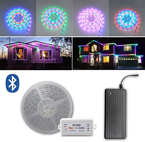 wattcctlm WS2811 Pixels 200FT 2X 100FT Roll 12V SMD 5050 Waterproof LED Strip Light Magic Dream Color Addressable Programmable Chasing Effect with Bluetooth Controller and Power Supply