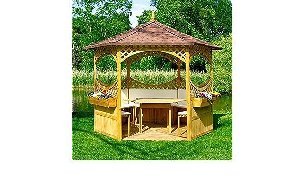 PRIKKER - Pavillons Pabellón Palma V con tejado de betún Madera Carpa Cenador 326 x 326 x 280 cm: Amazon.es: Jardín