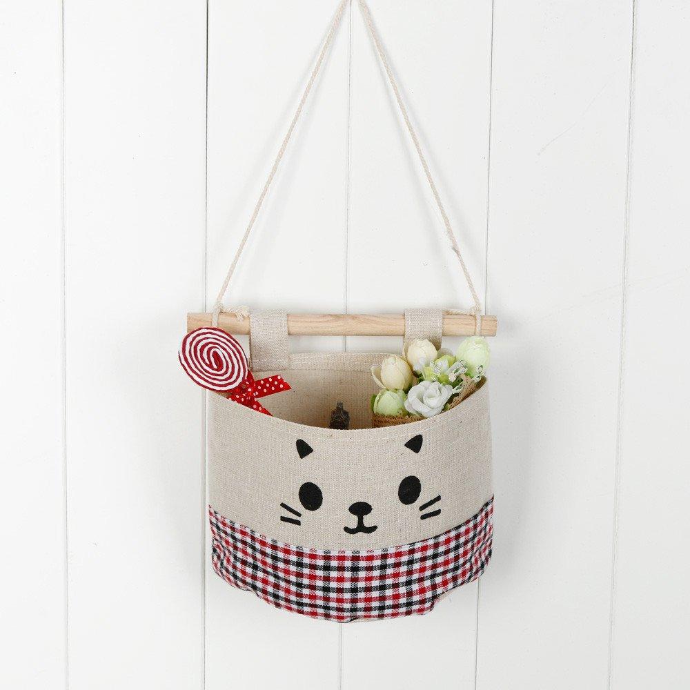 Hot Tuscom New Cotton Cartoon Cat Hanging Storage Bag,15x13.5 cm Debris Pouch Wall Combination(5 Colors) (E)