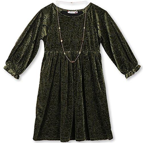 Speechless Girls' Big Flocked Velvet Dress, Olive, 14 ()