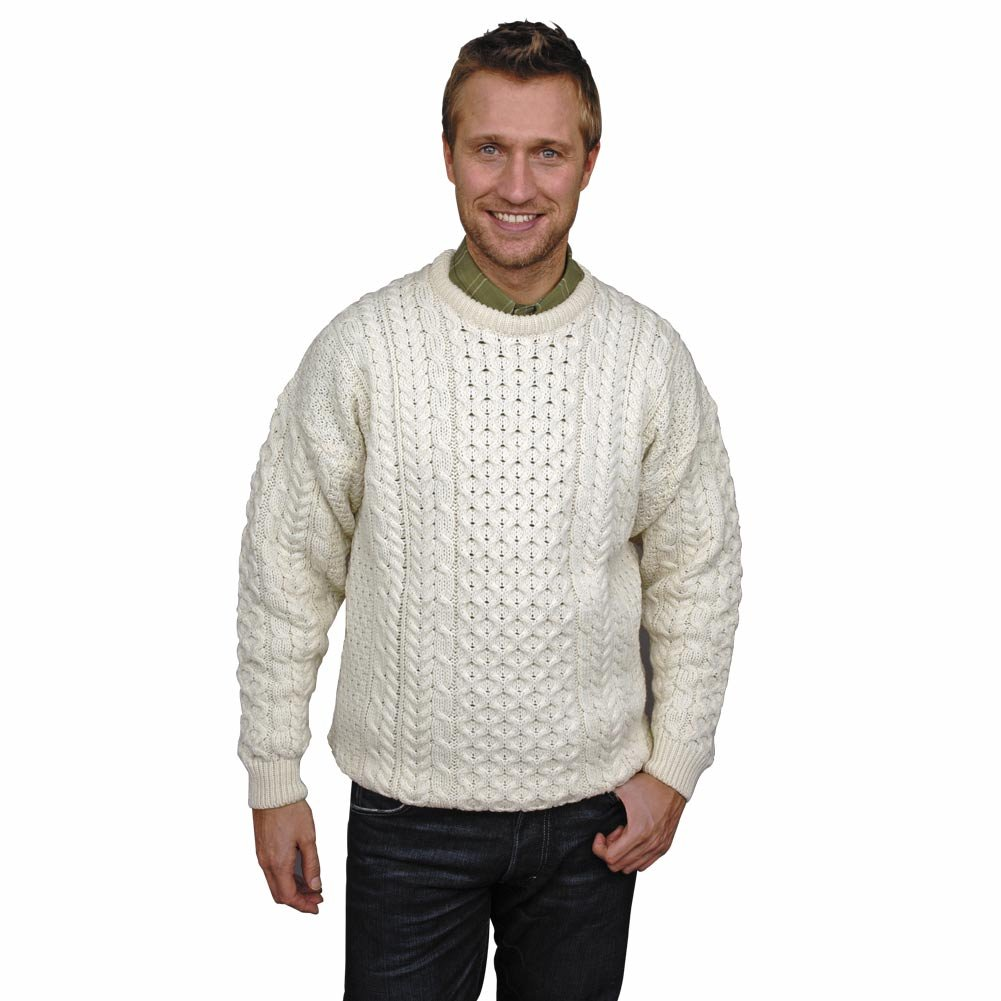 Irish Aran Merino Wool Sweater White Med- Fast delivery from Ireland by The Irish Store - Irish Gifts from Ireland