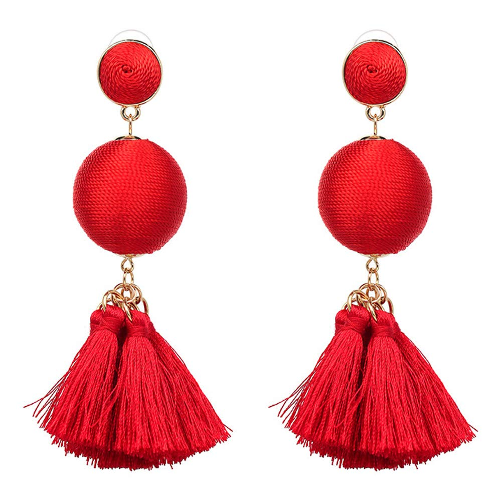 Bohemian Tassel Earring Fringe Drop Long Dangling Handmade Tiered Thread Layered Kid Girls