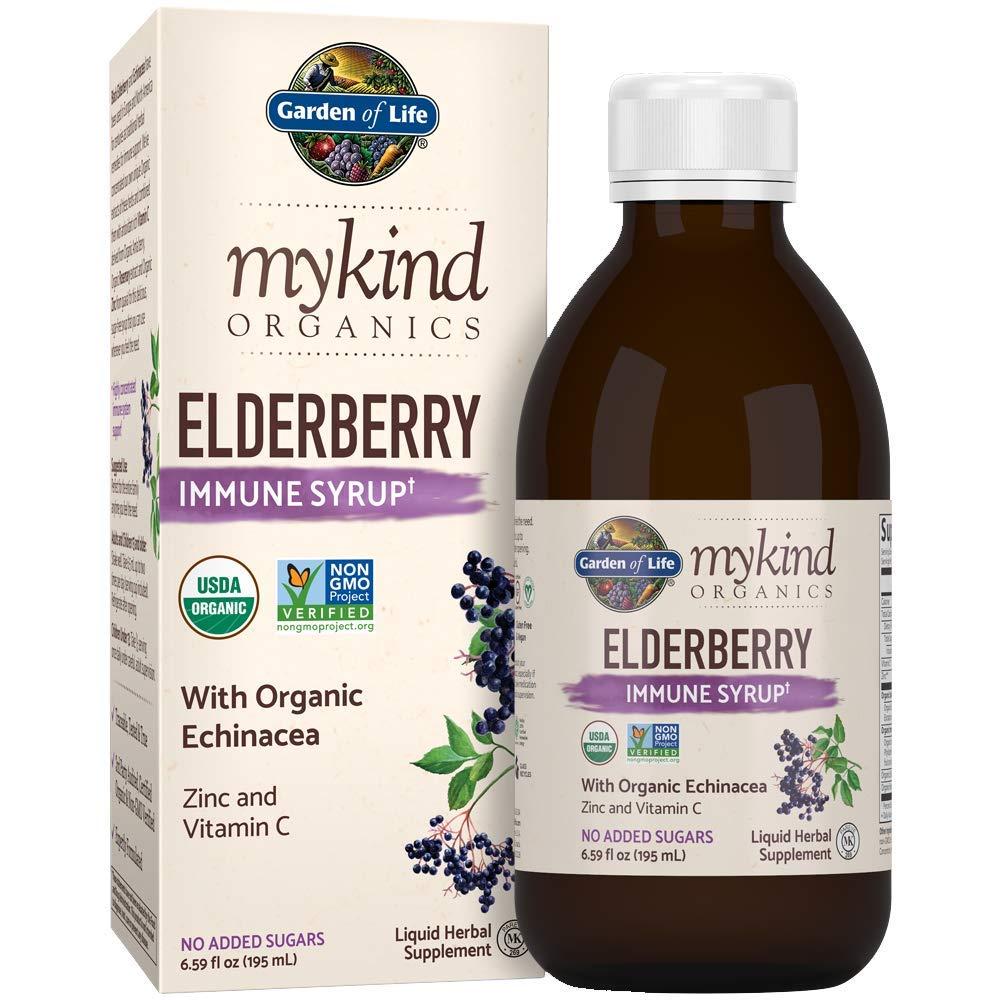 Garden of Life mykind Organics Elderberry Immune Syrup 6.59 fl oz 195 mL for Kids Adults – Sambucus, Echinacea, Zinc Vitamin C, 0g Sugar, Organic Non-GMO Vegan Gluten Free Herbal Supplements