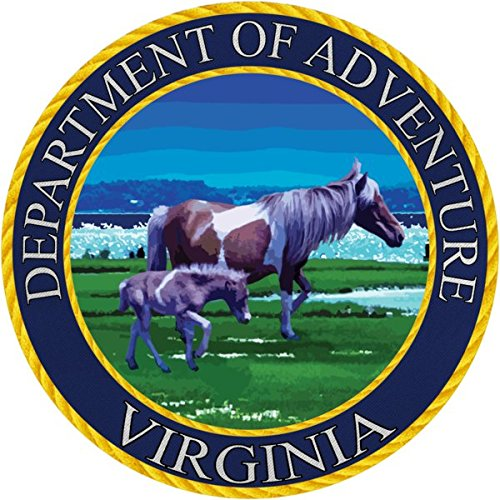 Extra Heavyweight Tumbler - Virginia Sticker, Department of Adventure State Seal VA - Wild Assateague Horse Mustang Vinyl Decal Label for Water Bottle Laptop Luggage Bike Laptop Tacklebox 5 Gal Bucket Bumper Helmet Waterproof