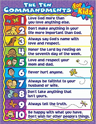 Carson Dellosa Christian The Ten Commandments for Kids Chart (6359) (City Carson Old)