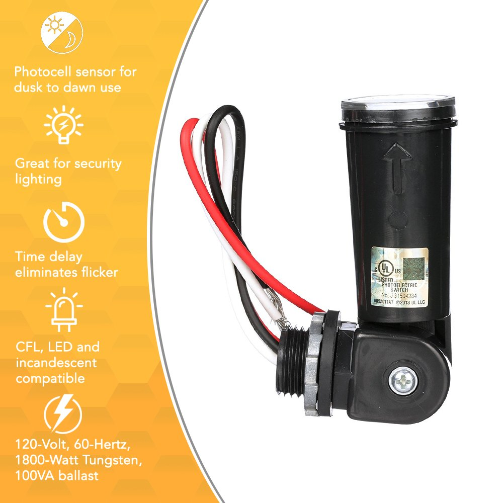 Woods 59410wd Outdoor Hardwired Stem Mount Light Control Sensor With Photocells For Led Lights Photocell Lot