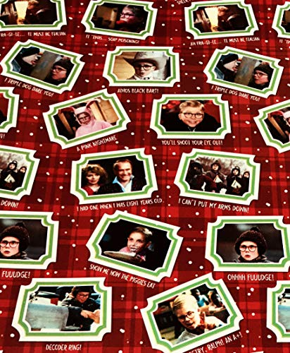 A Christmas Story Iconic Scenes Triple Dog Dare You Ralphie Red Christmas Holiday Gifting Wrapping Paper Gift Wrap 3.33' x 18