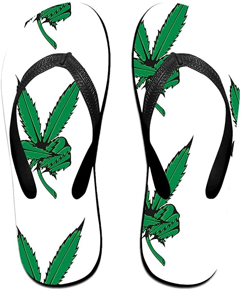 Couple Slipper Weed Leaf Yes Print Flip Flops Chic Sandals Rubber Non-Slip Beach Thong Slippers