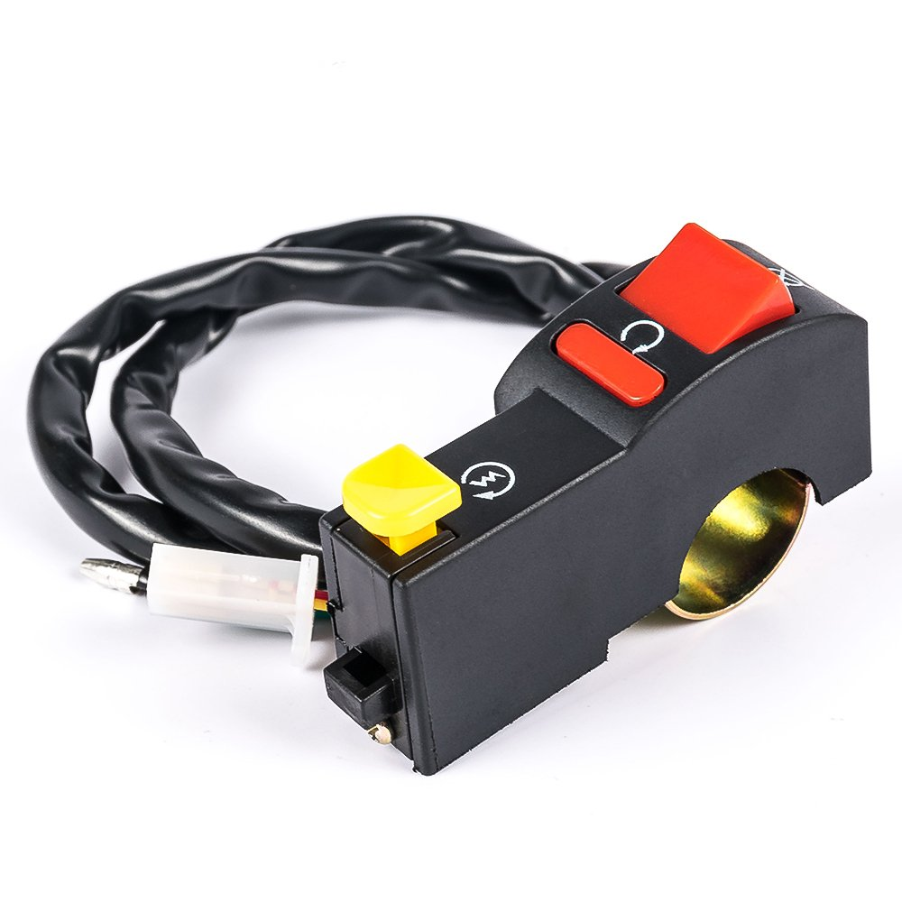 Motorcycle Black Handlebar Electric Start 7//8 Ignition Start Button Headlight on off Switch Control For Motorbike