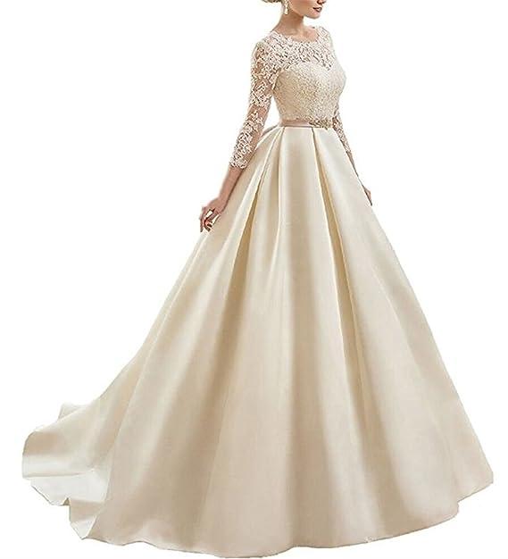 XUYUDITA Cuello de la mujer cuello vestidos de novia V sat¨¦n vestidos de