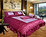 Indian Designer Satin Printed Double Bed Badsheet Set of 4 Piec