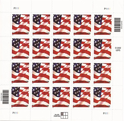 US Stamps - 2002 (37c) Flag - 20 Stamp Sheet F/VF MNH # 3621