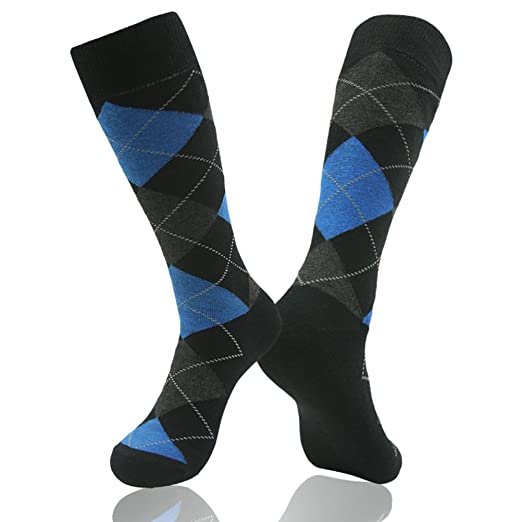 641eeb5256 Casual Crew Dress Socks, SUTTOS Men's Women's Argyle Striped Funky American  Flag Socks Cotton Sock 2 Pairs
