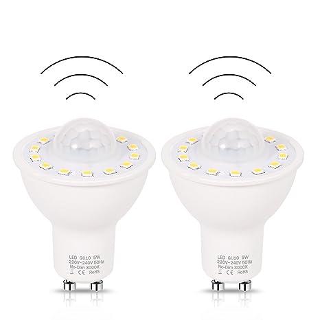 (2 Pack) LOHAS GU10 5W LED, Sensor de Movimiento de la Bombilla,