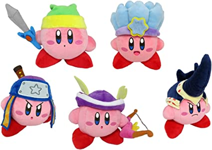 Little Buddy Set of 5 Kirbys Adventure All Star Kirby Stuffed Plushes - 1626 Sword / 1627 Ice / 1628 Ninja / 1629 Sniper / 1630 Beetle, 6