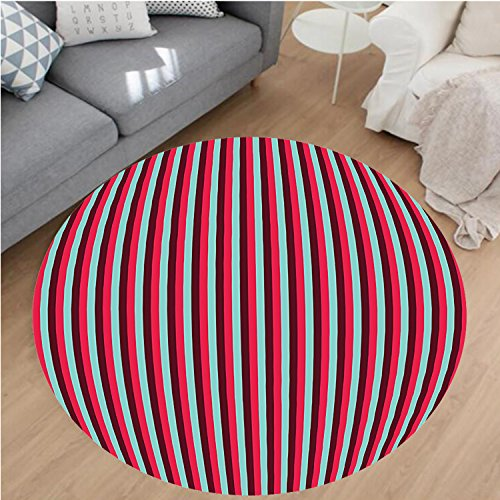 nel Microfiber Non-Slip Machine Washable Round Area Rug-nch Cafe Restaurant Tent Inspired Image with Stripes Print Hot Pink Sky Blue and Burgundy area rugs Home Decor-Round 28