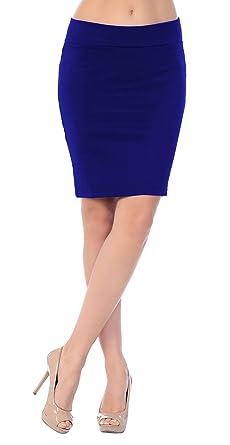 0e4996e5189a Emma   Giovanni - Jupe Sexy Moulante Courte - Femme (Bleu-Electrique