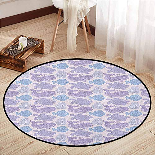 - Round Carpet,Whale,Sea Turtle Water Plant and Fish in Doodle Style with Paisley Mehndi Motifs,Anti-Slip Doormat Footpad Machine Washable,2'7