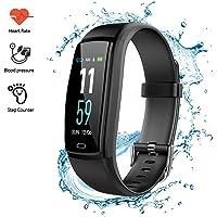 Echoming Pulsera Inteligente Reloj Deportivo, Monitores de Actividad Pulsera Salud, Impermeable Pulsera Deporte Fitness con Contador de Calorías, Sueño, Podómetro, Monitor de Ritmo Cardíaco, Notificación de Mensajes de Pulsera Inteligente para Android y IOS Teléfono Móvil (Negro)