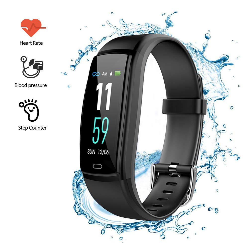 Comaie Fitness Armband, Fitness Tracker mit Pulsmesser Wasserdicht IP67 Activity Tracker Schlafanalyse Armband Fitness Armband Uhr mit Pulsmesser Schrittzä hler Kalorienzä hler fü r Android und iPhone
