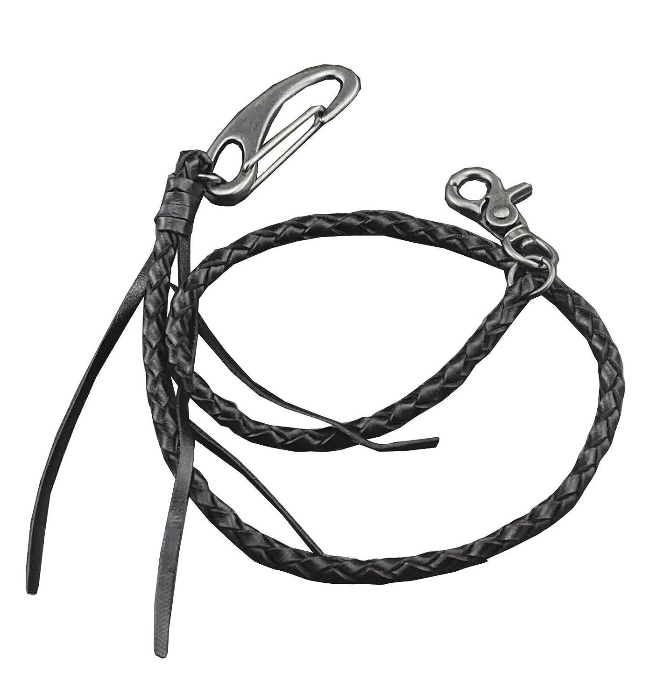 Leather Wallet Chain Handmade Braided Genuine Leather Biker keyChain Purse Chain (Black) vogueteen