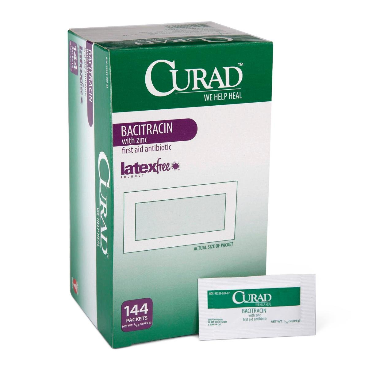 Medline CUR001109 Curad Bacitracin with Zinc Ointment, 0.9 g Packets, 0.03 oz (Pack of 1728) by Medline