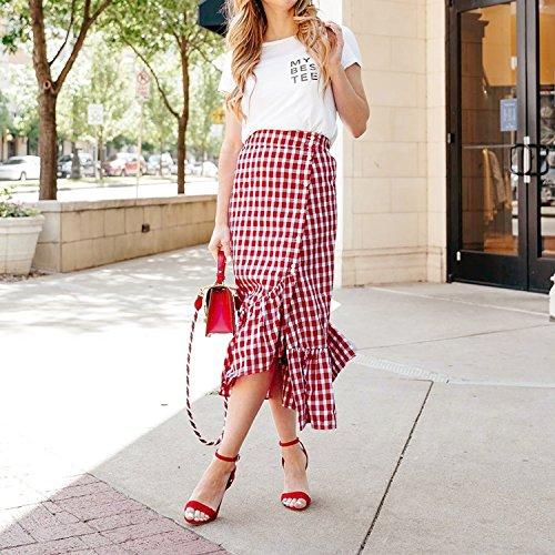 Femme Haute Rouge Jupe Plaid Cotton Reveryml Longues Femmes Plaid Club t Jupes mi Blanc Printemps Volants Red Empire Jupes Femme Taille Longue WCTw71ZqCA