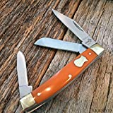 "BOKER PLUS G'STORE Stockman Folding Pocket Knife 3 1/4"" ORANGE Handles"