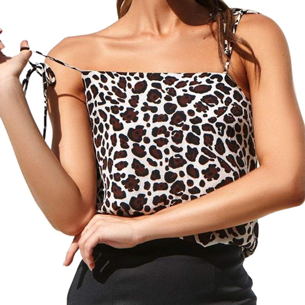 NUWFOR Women Sleeveless Leopard Print Bandage Camisole Vest Tops Loose T-Shirt Blouse(Coffee,US XL Bust:35.37'')