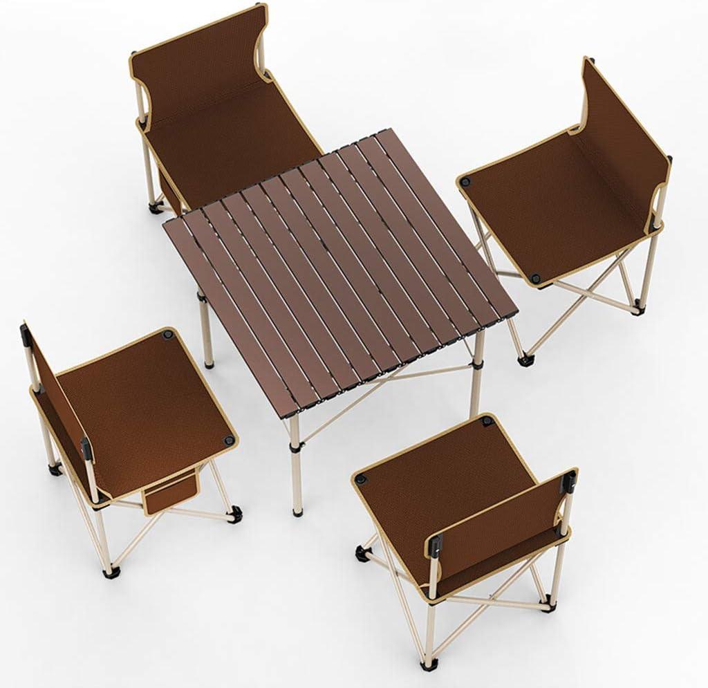 ROMX Juego de mesa de sillas de campamento, marco plegable y bolsa de transporte portátil. Luz de escritorio de aleación de aluminio plegable tipo rollo. Ideal para acampar, eventos deportivos, play