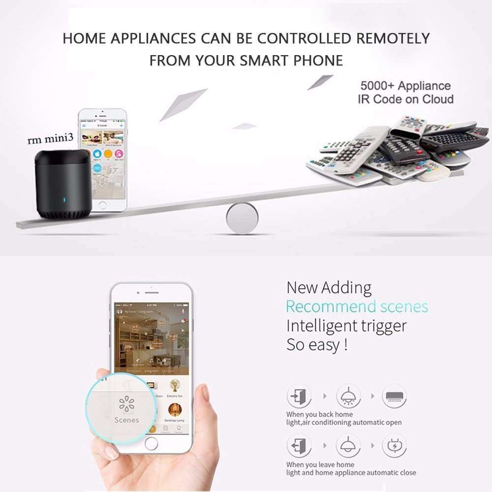 Broadlink IR home hub, rm mini3 smart wifi IR universal remote control, black bean one for all infrared controller, compatible with alexa rm mini3 Black