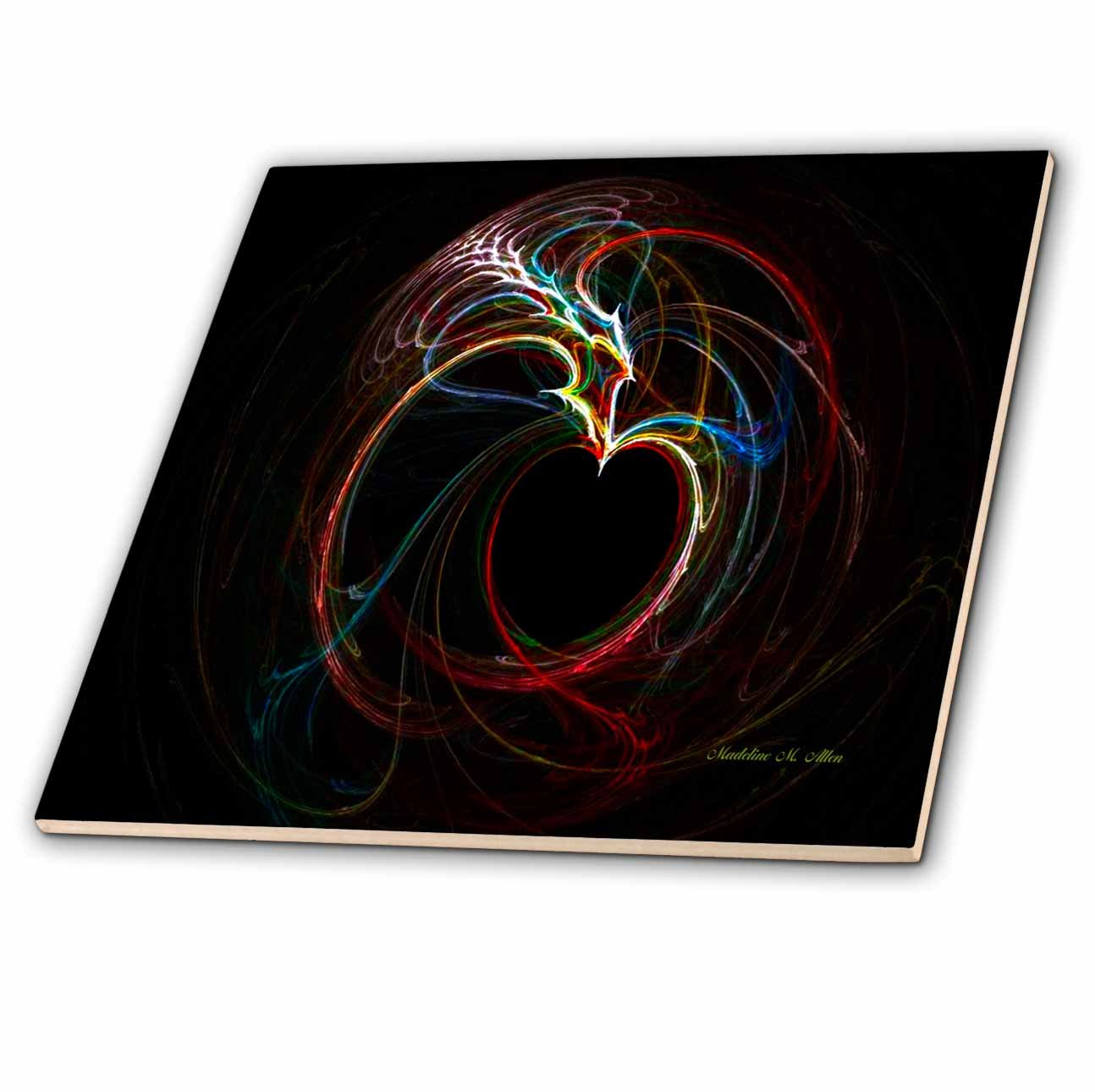 3dRose SmudgeArt A Heart Full of Love and forgiveness Fractal Art Ceramic Tile 8-Inch