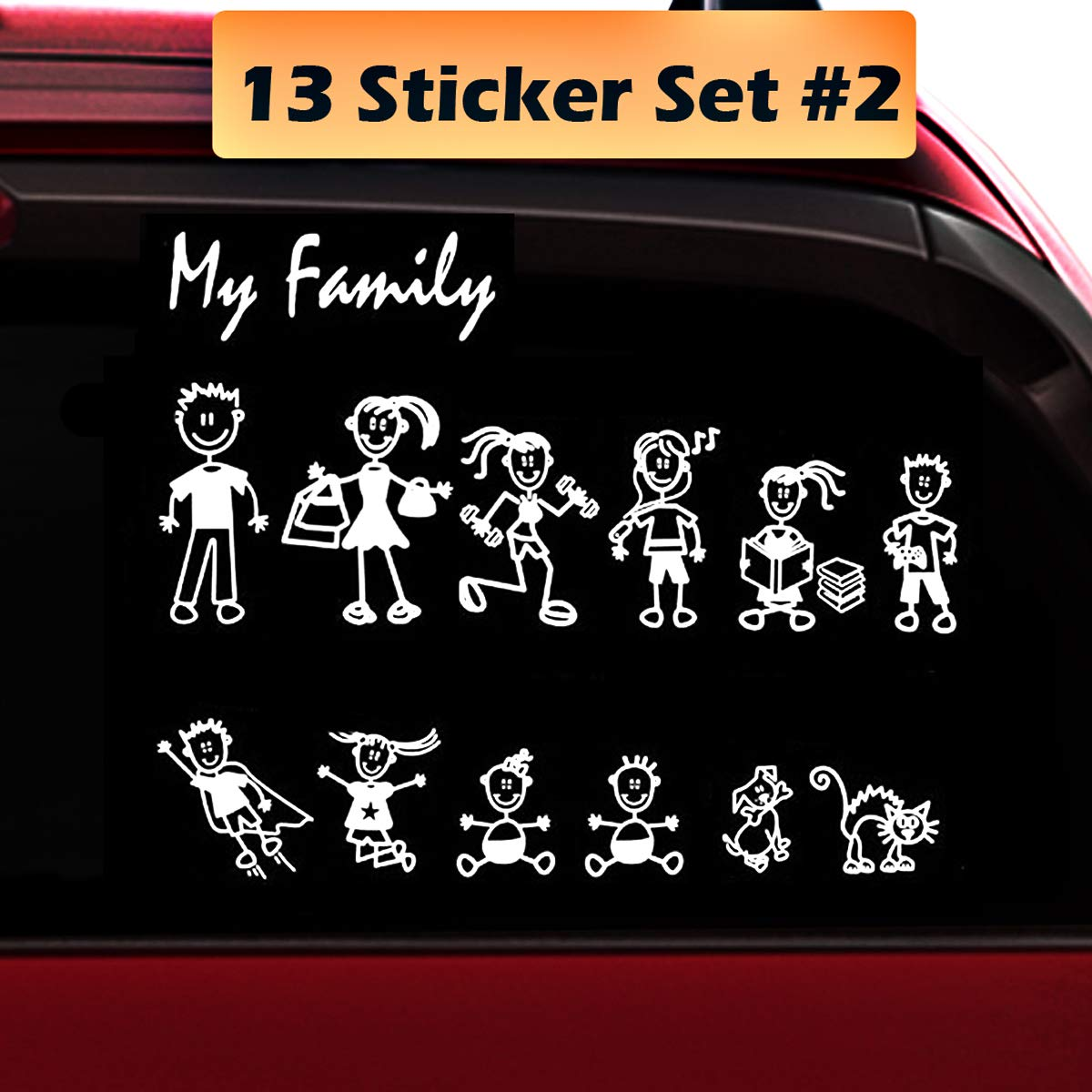 Amazon com totomo 13 stick figure my family car stickers style2 with pet dog cat family car decal sticker for windows bumper automotive