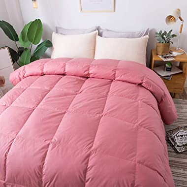 WhatsBedding 100% Cotton Down Comforter Pink Goose Duck Down and Feather Filling,Hypoallergenic. All Season Duvet Insert or Stand-Alone Comforter (Pink Queen)