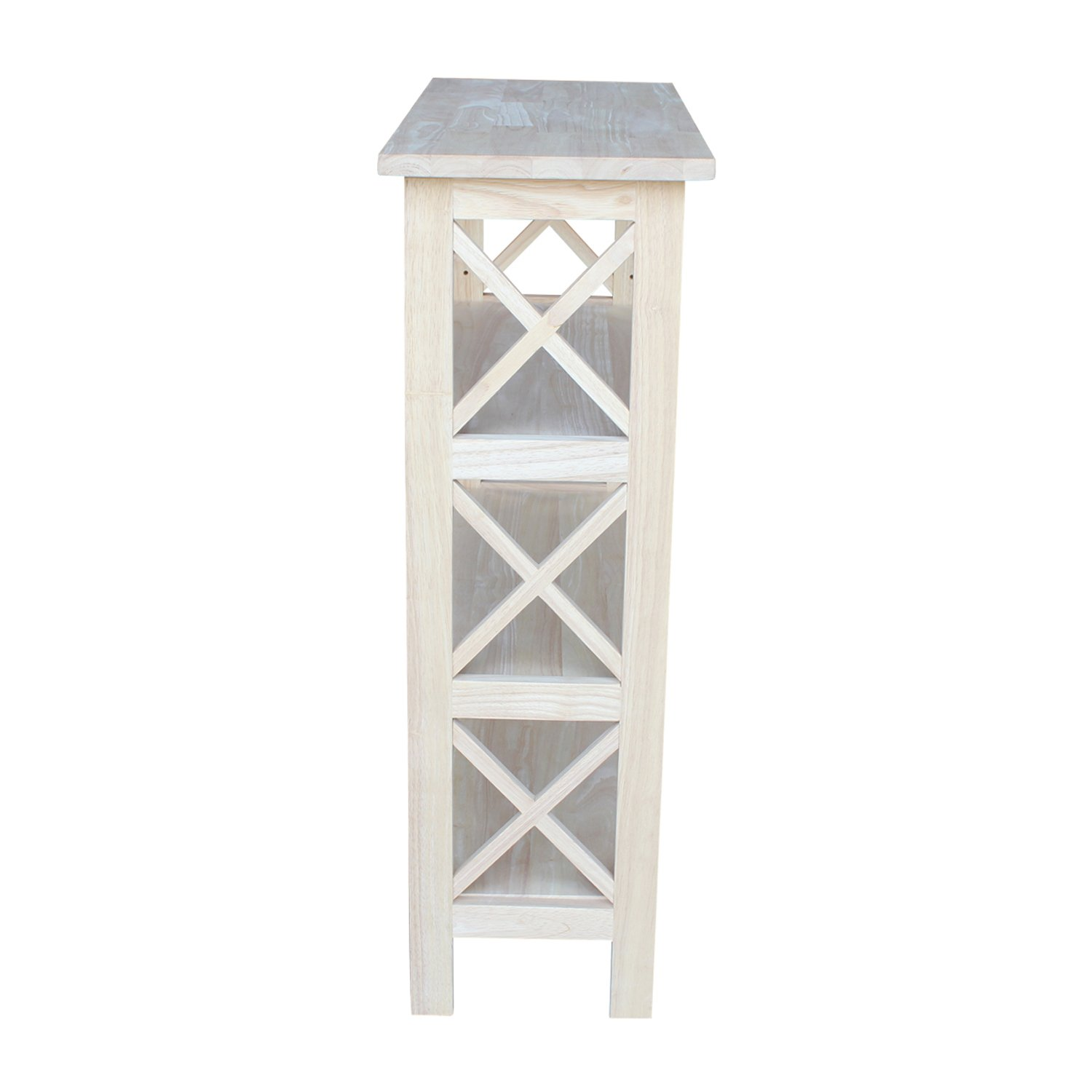 International Concepts SH-3630X 3-Tier X-Sided Bookcase, Unfinished