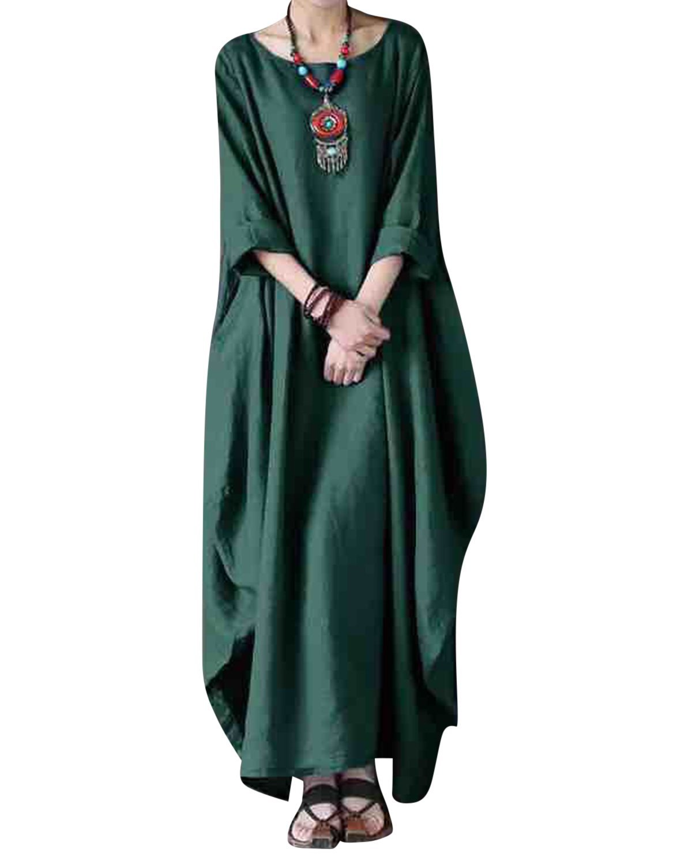 Jacansi Women Solid Loose Round Neck 3/4 Sleeve Irregular Hem Baggy Dress Green#1 3XL by Jacansi (Image #2)