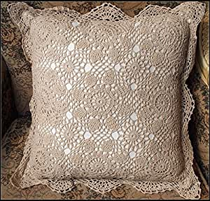 Throw Pillow Inserts 18 X 18 : Amazon.com: Handmade Vintage Cream Pillow Crocheted Throw Pillow Flower Pattern Crochet Pillow ...