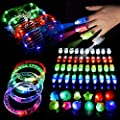 LED Light Up Toys Christmas Flashing Party Favors Supplies Beam Finger Light, Glow-in-the-dark Glasses, Bumpy Rings, Children's Theme Disco Dancing Set for Birthday, Festival, Carnival 60 pcs