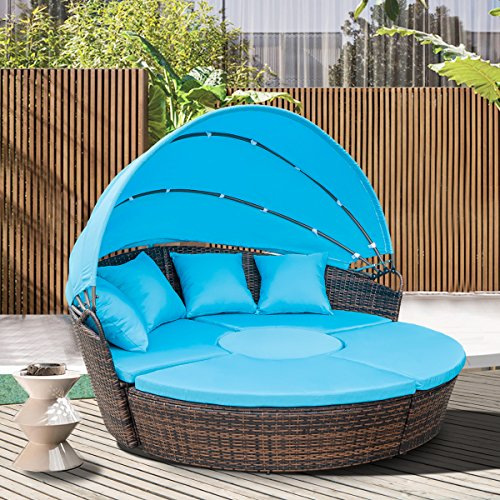 Cheap  Leisure Zone Outdoor Patio Backyard Poolside Furniture Wicker Rattan Round Daybed with..