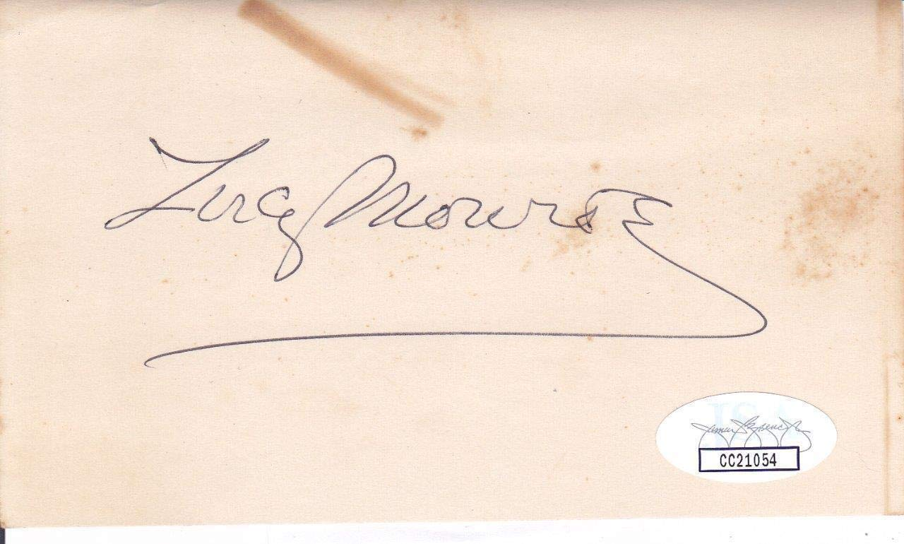 LUCY MONROE d. 1987 Signed 3X5 Index Card Singer For NY Yankees CC21054 JSA Certified MLB Cut Signatures