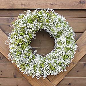 Handmade Natural Dried Preserved Floral Wreath | Green and White Arrangement | Dried Floral Home Accent | All Season Decorative Wreath 95