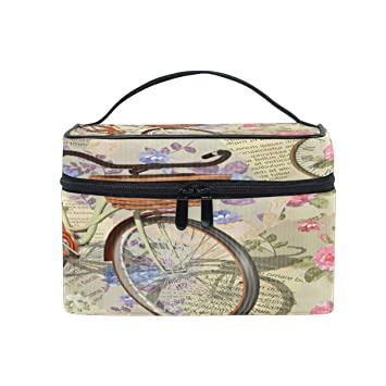 Bolsa de Maquillaje portátil Vintage Bicicleta Flor Viaje ...