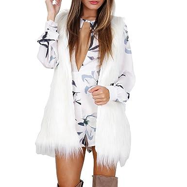 FELZ Abrigos Mujer Invierno Rebajas Chaleco sin Mangas de Piel sintética Blanco para Mujer suéter Abrigos: Amazon.es: Ropa y accesorios