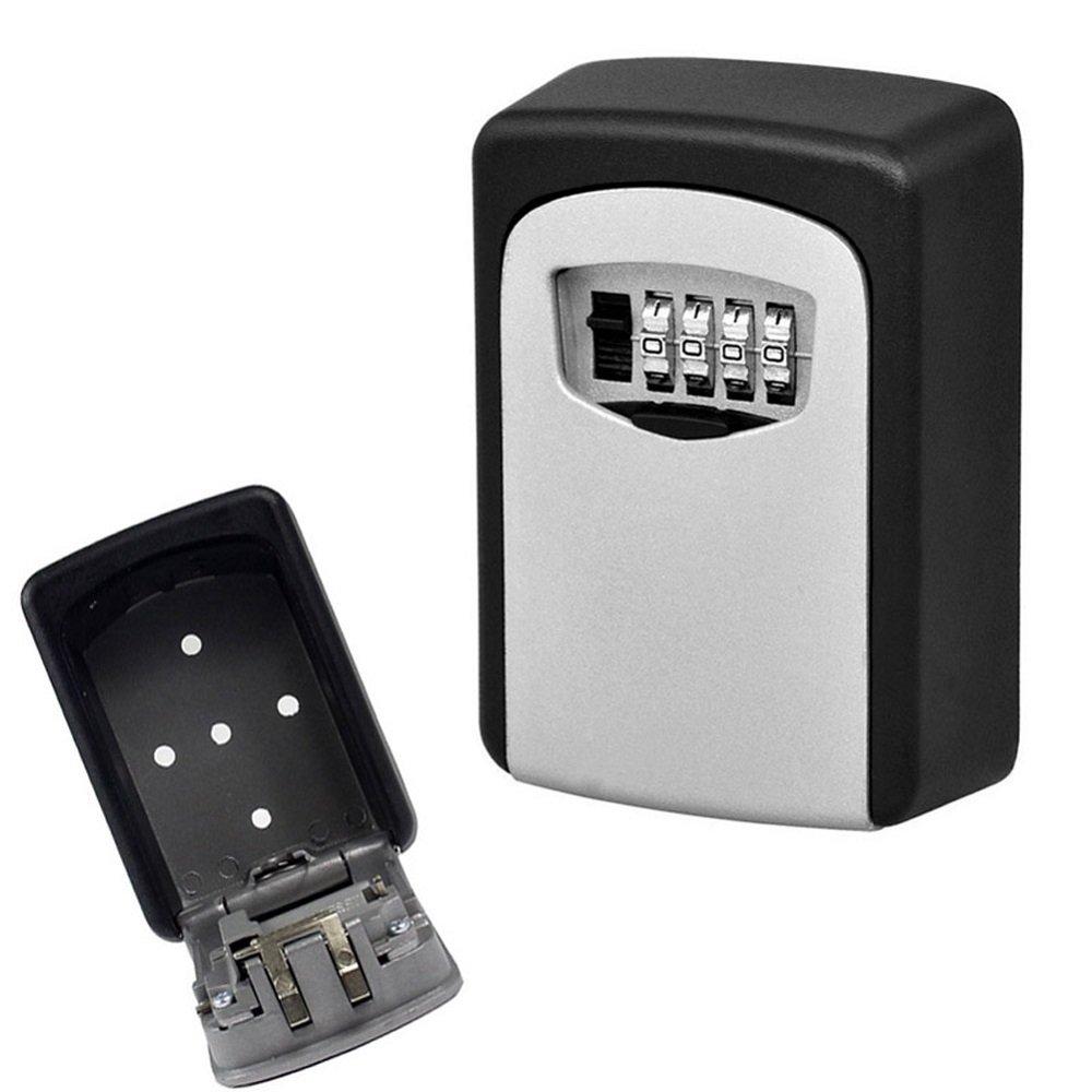 Key Lock Box,Plainmarsh 4-Digit Combination Lock Box Key Storage Box Wall Mounted Stainless Steel Key Safe Box Security Key Holder (4-Digit)