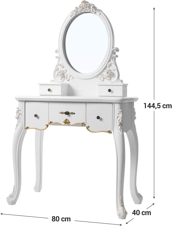 Tavolo da Trucco con Grande Specchio Ovale e 5 Cassetti Bianco e Dorato RDT50WT Motivi Dorati Dipinti a Mano VASAGLE Tavolo da Toletta Design per Soggiorno Cornice Floreale