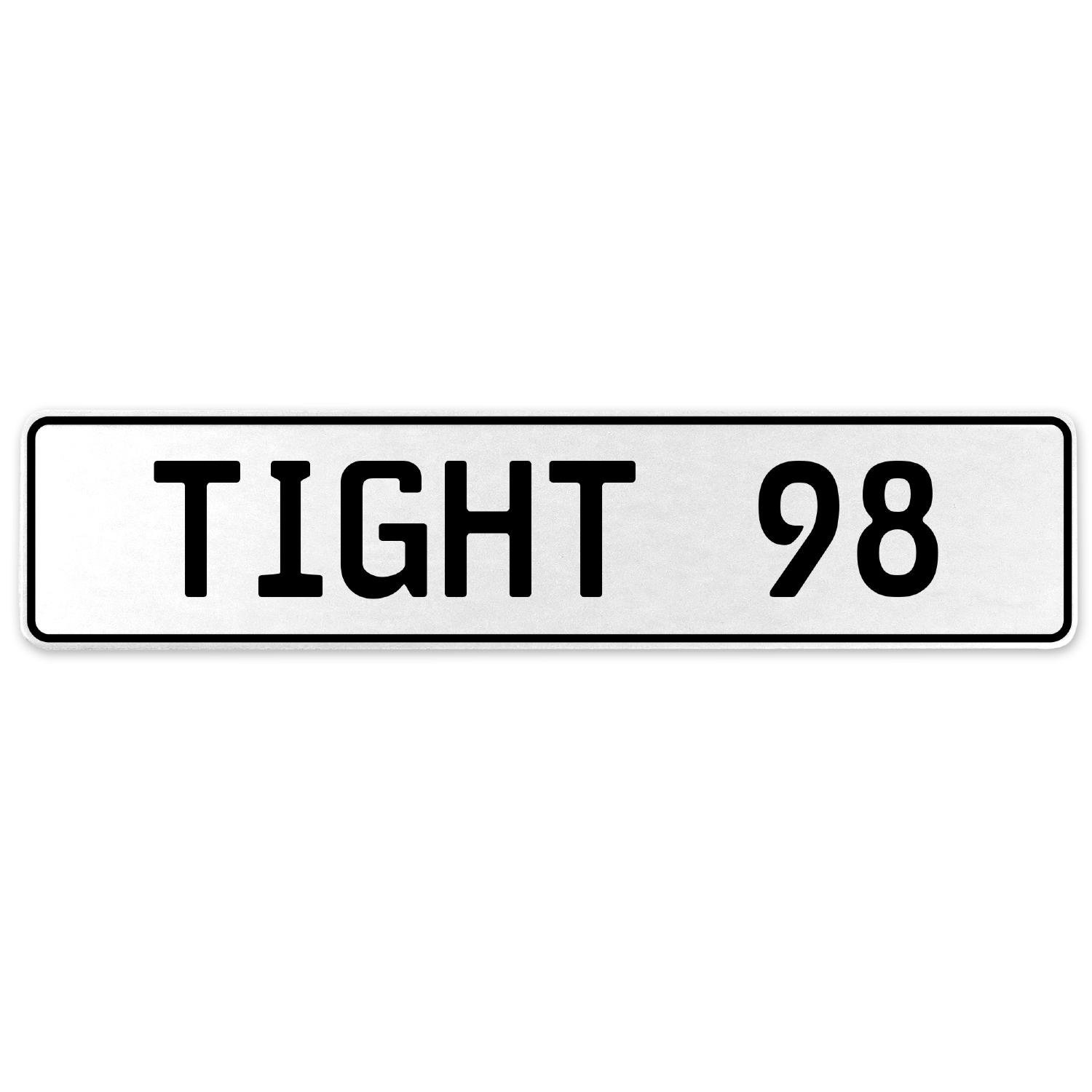 Vintage Parts 554794 Tight 98 White Stamped Aluminum European License Plate